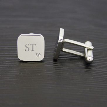 Men's Square Silver Finish Cufflink With Diamond